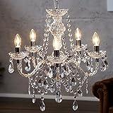 Lussuoso lampadario 'Elegance' con lampadine, lampadario acrilico con lampadine a 5braccia, diametro 54cm, trasparente