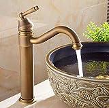 Grifo de baño de Cocina de Lavabo Grifo de Lavabo Grifo de Lavabo de baño Alto de latón Grifo de tocador de licuadora Antigua manija única caño Giratorio de 360 Grados