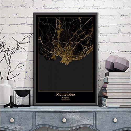 Cuadro Sobre Lienzo,Montevideo Uruguay City Map Black Gold Wall Pictures For Home Decor Posters Imprime Pinturas De Arte Rectángulo Murales Pop Obras De Arte Para Habitación Sala Decoración,70X100