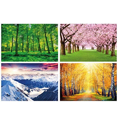 GREAT ART® juego de 4 motivos de carteles | Din A2 - 42 x 59,4 | Cuatro estaciones | Verano Otoño Bosque Primavera Invierno Glaciar Plantas | Cuadros para niños decoración póster