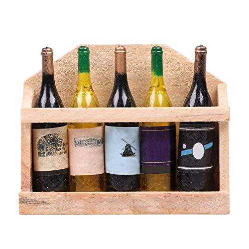 Vektenxi Mini 5 Plastic Wine Bottles Wooden Log Refrigerator Sticker Fridge Magnet Durable and Useful