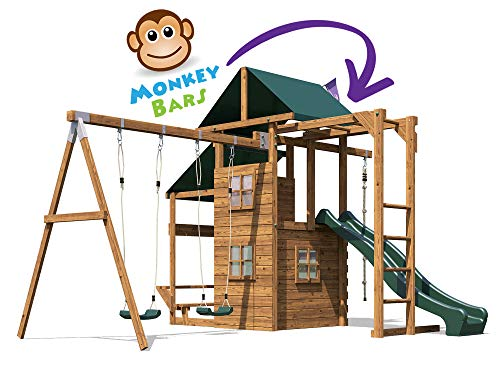 Kids Wooden Garden Climbing Frame Pressure Treated Playhouse Wave Swing Slide Set Monkey Bars Climbing Wall - ManorFort Stronghold