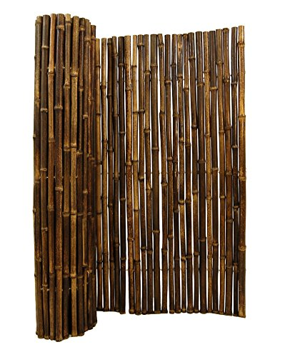 Natural Rolled Black Bamboo Fencing 1' D x 3' H x 8' L