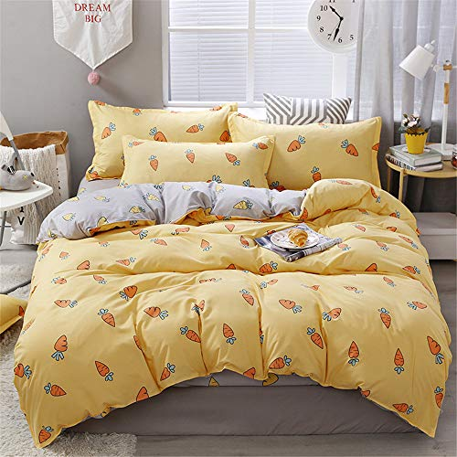 Bettbezug Set, DOTBUY Modern Bettwäsche-Set 3 TLG Bettwäsche Set Polyester Super Weiche mit Reissverschluss Atmungsaktive Bettbezug Kissenbezüge Bettlaken (Orange Karotte,135x200cm)