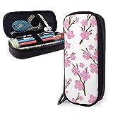 Cherry Blossoms Pink Estuche portátil para lápices Lindo bolso para bolígrafos de cuero Organizador de escritorio con cremallera Porta bolígrafos de gran capacidad