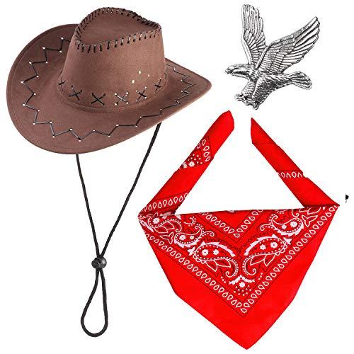 Haichen Western Cowboy Costume Accessori Set Cappello da Cowboy Bandana Flying Eagle Pin Cowboy Outfit Kit per Halloween Party Dress Up (caffè)