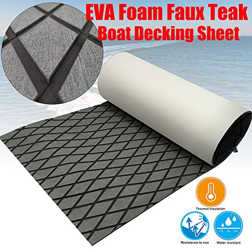 CHURERSHINING EVA Boat Decking Sheet Yacht Marine Teak Flooring Carpet with Backing Adhesive 74.8
