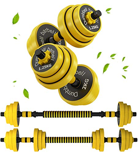 Adjustable Dumbbell Set Weights for Women or Men Home Gym Fitness Equipment 2 in 1 Dumbell & Barbells Free Combination Set 1 Pair,10kg/5kg*2