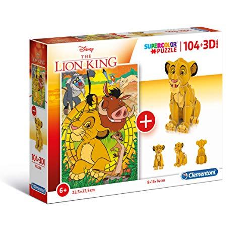 Clementoni- Puzzle 104 3D Model-Lion King-104 Pezzi, Multicolore, 20158