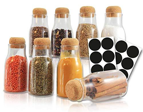 Leander Design® - Juego de 8 tarros de especias de alta calidad, 180 ml, 16 etiquetas de pizarra, organizador de cocina, tarros con tapa de corcho, especiero, tarros pequeños, vacíos