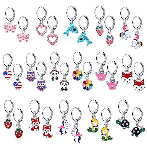 16 Pairs Earrings Set for Girls Cute Animal Colourful Unicorn Mermaid Butterfly Fox Panda Cartoon Small Hoop Dangly Earrings for Little Girls Kids Toddlers