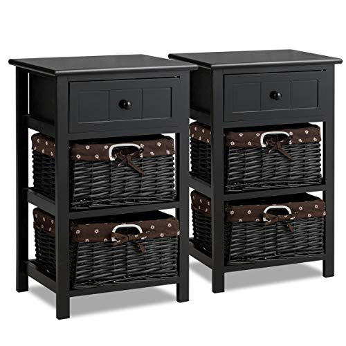 Giantex Nightstand with Drawers Wooden, W/ 2 Storage Baskets and Open Shelf for Bedroom, Bedside Sofa End Table (2, Black)