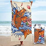 Dujiea Lightweight Beach Towels Quick Dry with Pocket, Japanese Koi Fish Tattoo Style Soft Microfiber Sand Free Pool Bath Outdoor Travel Towel for Camping Swimming Yoga Sports Girl Women Men Adults