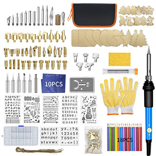 Wood Burning Kit 153PCS, Professional Pyrography Pen Kit with Adjustable Temperature Soldering Iron, Woodburning Tool, Creative Tool Set for Embossing Carving Soldering Tips Beginners,Adults,Kids