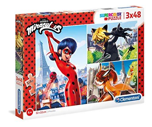 Clementoni – Supercolor Puzzle – 3 x 48 Piezas, Multicol