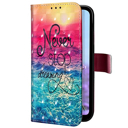 Uposao Kompatibel mit Samsung Galaxy A2 Core Handyhülle Glitzer Bling 3D Bunt Leder Hülle Flip Schutzhülle Handytasche Brieftasche Wallet Bookstyle Case Magnet Ständer Kartenfach,Ozean