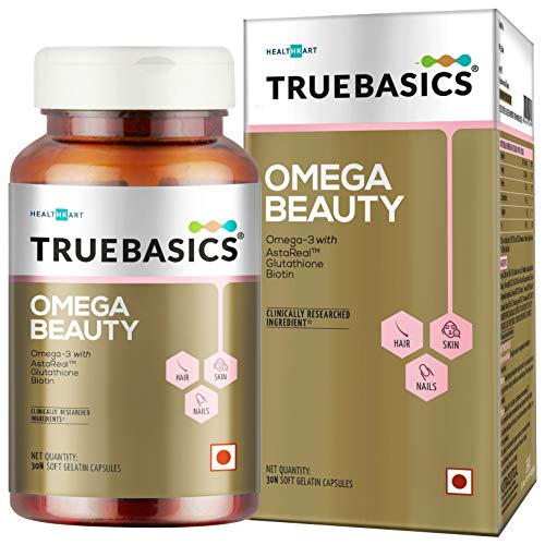 TrueBasics Omega Beauty Advanced Formula with Omega-3 Fish Oil, Astaxanthin (AstaReal), Biotin and Glutathione Enhanced with Amino Acids Blend and Complete RDA of All Vitamins (30 Softgel Capsules)
