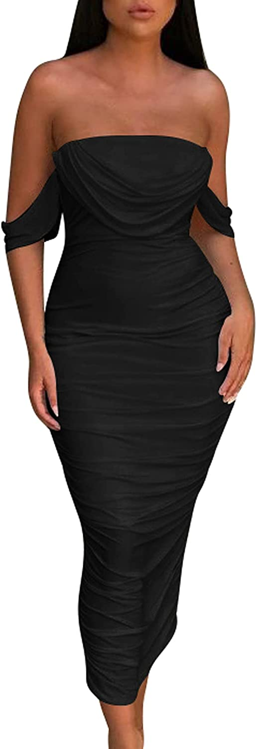 HOCILLE Women's Sexy Ruched Bodycon Strapless Off Shoulder Midi Club Party Tube Dresses