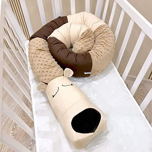 GLITZFAS Bettumrandung Baby Nestchen Kinderbett Stoßstange Weben Bettumrandung Kantenschutz Kopfschutz für Babybett 200cm Länge (Brown)