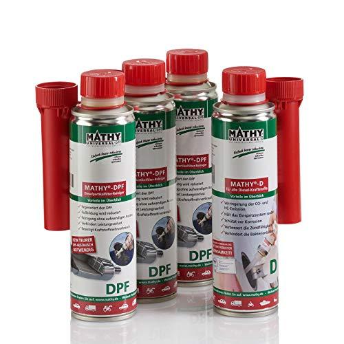 MATHY DPF-Kur Reinigungsset Dieselpartikelfilter 250 ml + 3 x 300 ml - intensive Reinigung DPF - Diesel Additiv - Einfache Anwendung über den Tank - Dieselpartikelfilter Reiniger - Kraftstoffadditiv