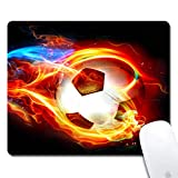 ZYCCW Customized Flame Soccer Cloth Surface Natural Rubber Gaming Office Mouse Pad- Rectangle 240x200x3mm Mouse pad (9.5x7.9x0.12 inch)