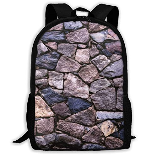 XCNGG Solid Stonewall Art Printed Travel Backpack,Waterproof Lightweight Laptopbag Have Two Side Pockets