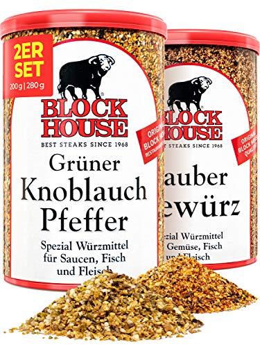 Block House Grillset Gewürzmischung Grüner Knoblauch Pfeffer 200g & Zaubergewürz 280g