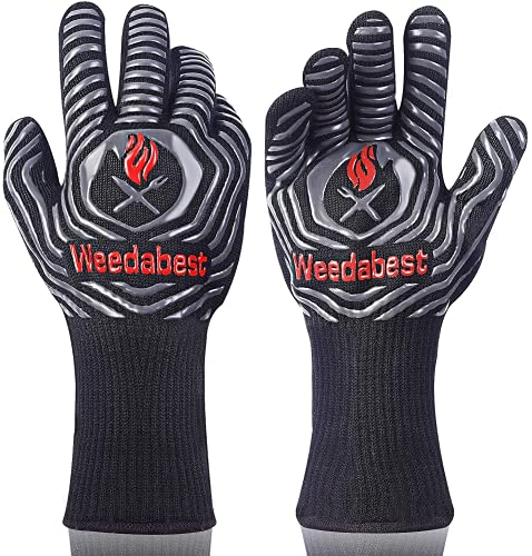 SUMPRO Hot BBQ Gloves Heat Resistant Kitchen Oven Mitts Professional Long Heat Resistant Cooking Gloves for Grill,Grilling,Smoker,Barbeque,13.5 inch-Gray