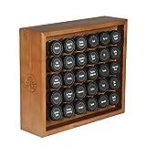 AllSpice Wood Spice Rack, Includes 30 4oz Jars- Cherry