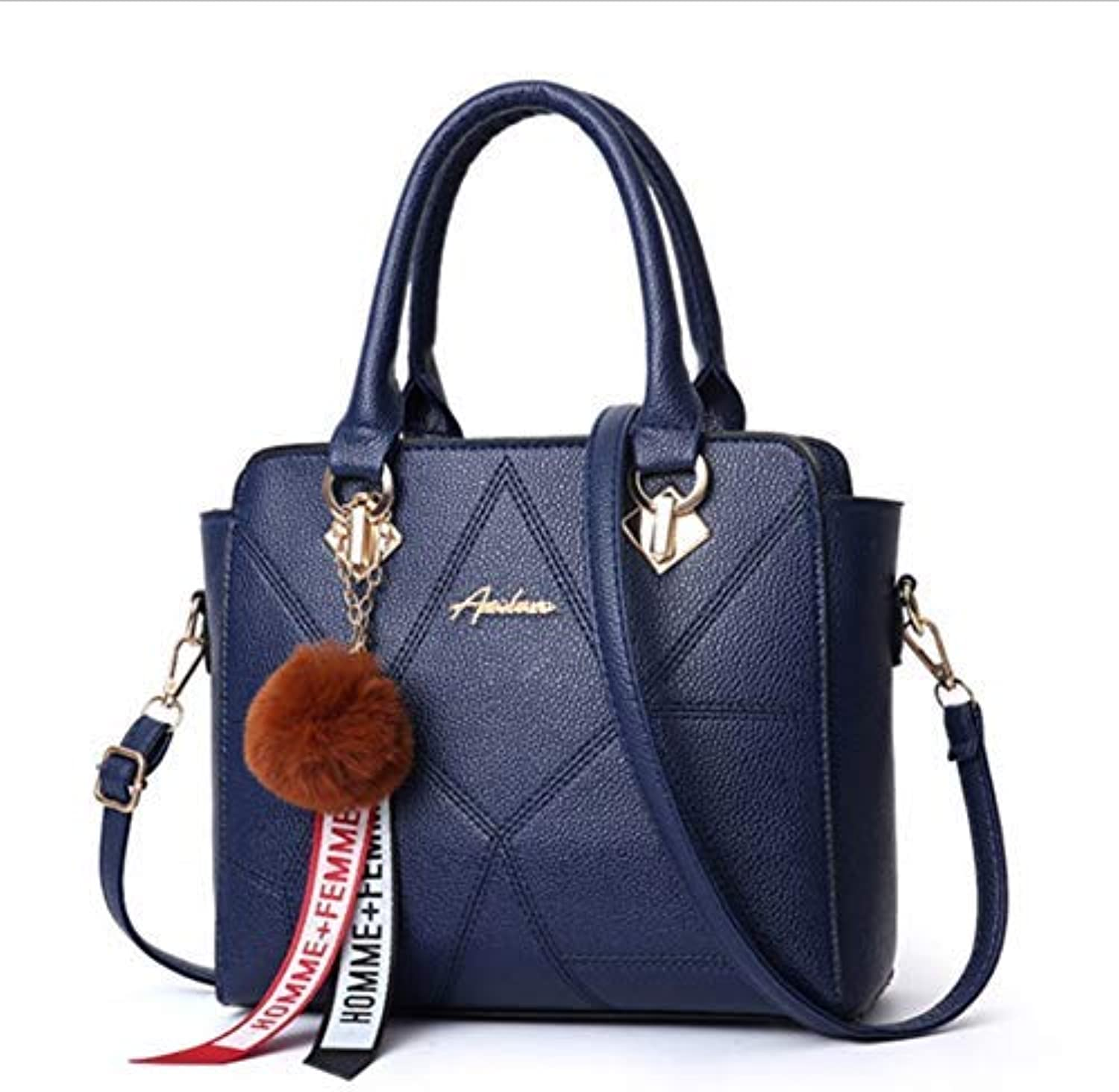 JQSM Solid color Crossbody Bags for Women Fur Ball Hanging Shoulder Bags for Female Fashion Business Style Bag