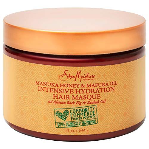 SheaMoisture Intensive Hydration Masque For Dry, Damaged Hair Manuka Honey & Mafura Oil To Smooth Hair 12 oz