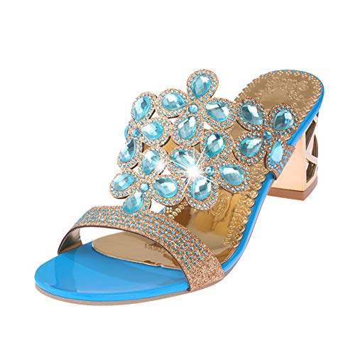 Yiwa Zapatos de Mujer Sandalias de Moda para Mujer con tacón Grueso y Cristal Azul eléctrico 36