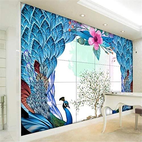 behang muurschildering op maat woonkamer slaapkamer pauw hart scherm muurschildering tv achtergrond muur huis decoratie schilderij 30 x 300 cm.