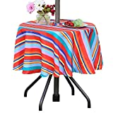 Poise3EHome 52 inches Outdoor Waterproof Spillproof Round Tablecloth with Umbrella Hole for Camping, Patio, Picnic, Spring, Summer, Color Stripe