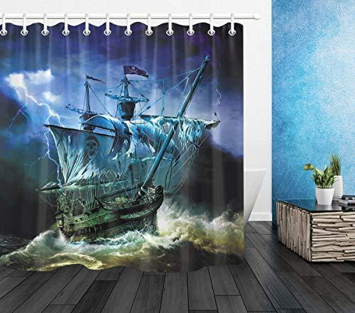 ZHANGSHUQI Piraten-Geisterschiff-Duschvorhang-Badezimmer-dauerhafter Gewebe-Mehltau-Badezimmer-Anhänger kreativ mit 12 Haken 180X180CM