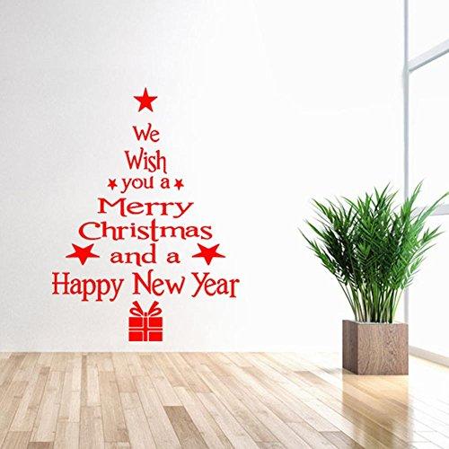 Demiawaking ウォールステッカー 壁シール クリスマスツリー 英語 PVC素材 剥がせる 雰囲気を高め ガラス・ショーウインドー・陳列窓飾り