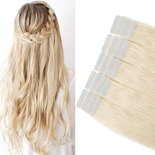Extension Capelli Veri Biadesivo 40 Fasce Tape in Hair Extension Adesive 80g Remy Human Hair Lisci Lunghi Naturali Seamless Invisibile(30cm 60 Biondo Platino)