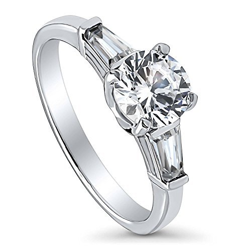 BERRICLE Rhodium Plated Sterling Silver Round Cubic Zirconia CZ 3-Stone Anniversary Promise Wedding Engagement Ring 1.5 CTW Size 8.5