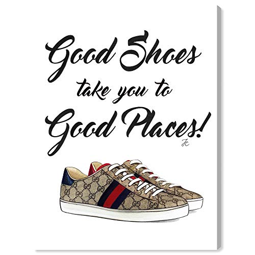 """Price comparison product image The Oliver Gal Artist Co. Fashion and Glam Wall Art Canvas Prints 'Doll Memories - Unique Fab Shoes' Home Décor,  18"""" x 24"""",  Brown"""
