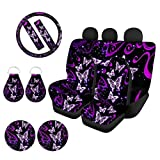 WELLFLYHOM Purple Butterfly Car Seat Cover Full Sets for Women Girly Cute Print with Stretchy Steering Wheel Cover + Seat Belt Strap Cover+ Cup Holder Coasters+ Auto Keychains, Easy to Clean