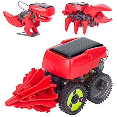 Anksono 3 in 1 STEM Solar Robot Kit, DIY Dinosaur Educational Toys for Kids Teens and Science Lovers Age 8 9 10 11 12+ Year Old Boys and Girls
