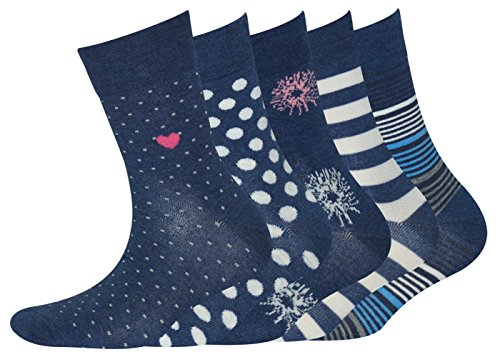 Sympatico 21697 Damen Socken 5er Pack in verschiedenen Designs Allover Stretch, Groesse 39-42, 5x jeansblau/gemustert