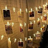 AutoWT Luces de cadena de clips de fotos, LED luces cadena hadas de 6.3M 40 clips transparentes, para fotos tarjetas y notas dormitorio dormitorio pared boda fiesta cumpleaños decoración