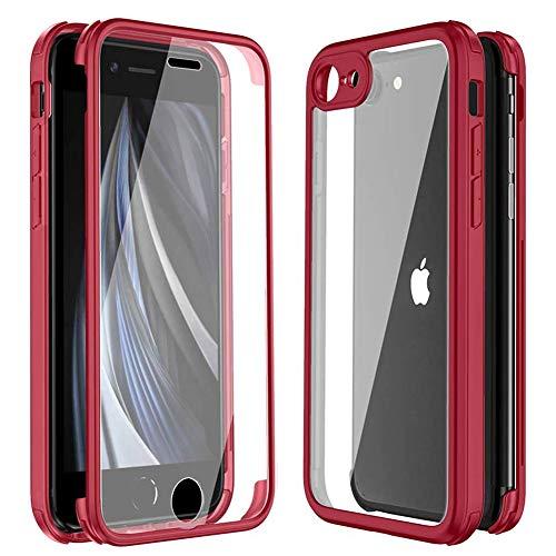 Mkej Funda Compatible con iPhone SE 2020/7/ 8 360° Case Protectora de Cuerpo con Protector de Pantalla de Cristal Templado Integrado [diseño de una Pieza] Carcasa Protectora Transparente, Rojo