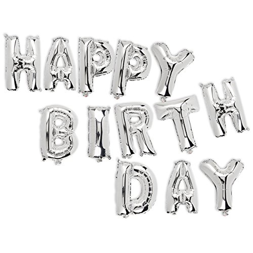 Folienballon-Set, silberfarben, Happy Birthday, ca. 40 cm nachfüllbar 13 Stück im Polybeutel mit Headerkarte