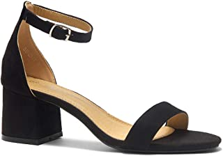 Herstyle Sunday Women's Open Toe Ankle Strap Block Chunky Low Heeled Sandal Comfortable Office Pump Shoes