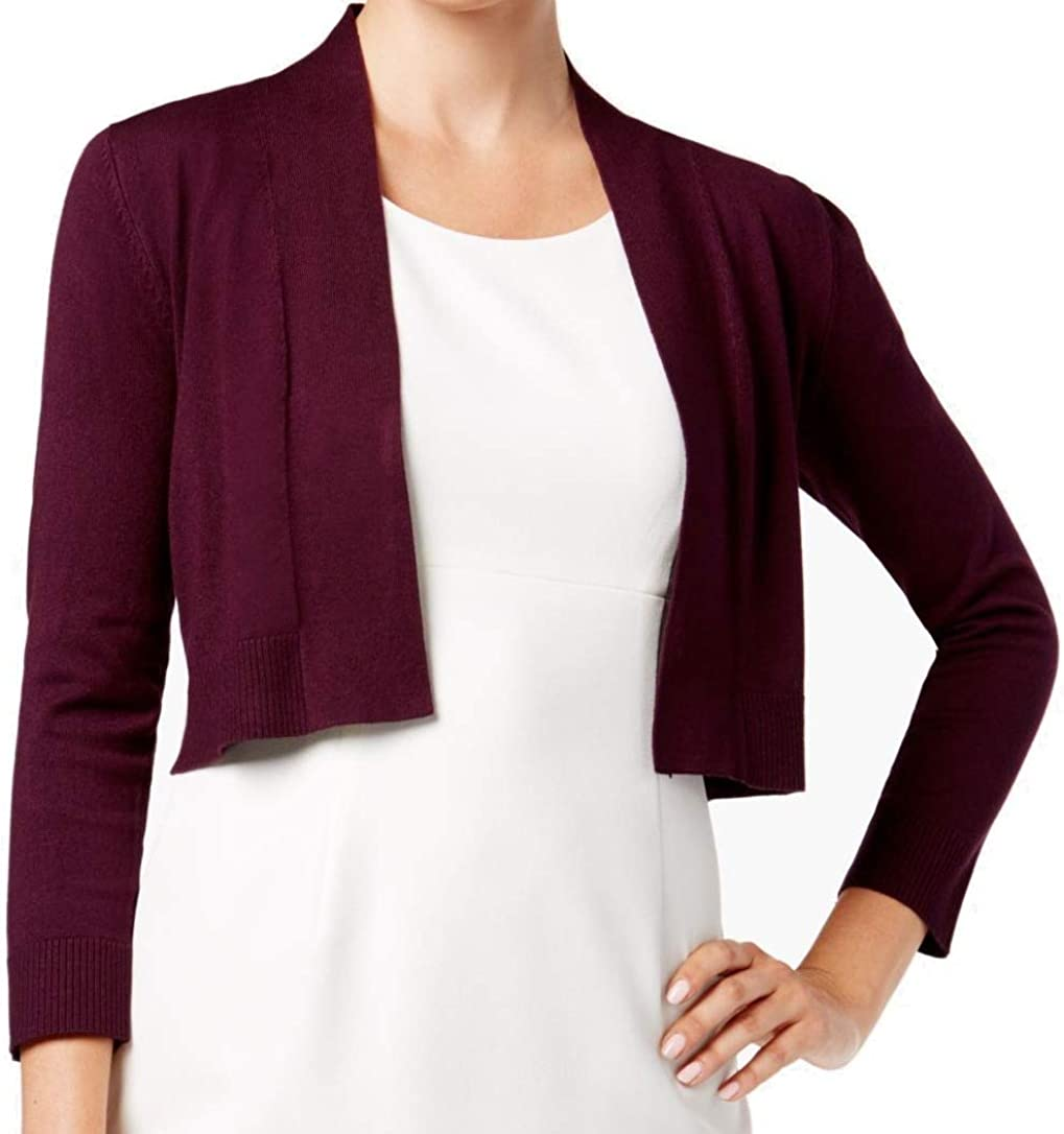 Calvin Klein Women's 3/4 Sleeve Sheer Stripe Shrug with Self Banding and Cuff