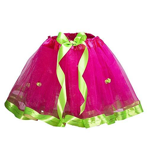 Falda tutus de Tul para ballet y danza niñas, princesa bailarina, disfraz (Fucsia con manzana)