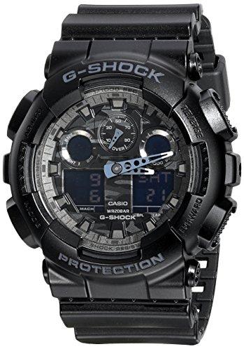 Casio G-Shock Analog Digital Dial Black Resin Mens Watch GA100CF-1A