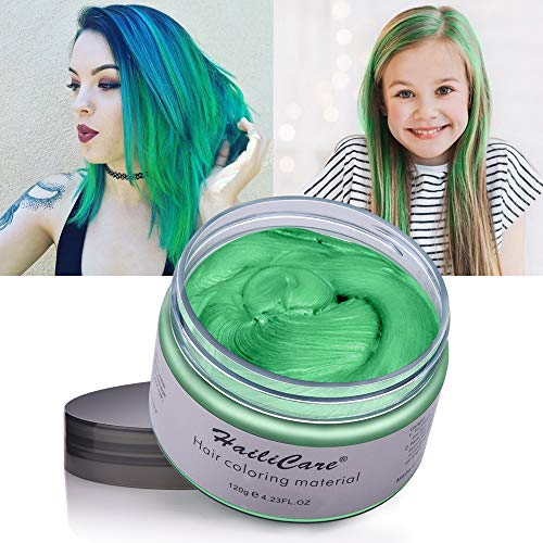 Hair Color Wax, Unisex Disposable Green Hair Dye, Hairstyle Coloring Cream for Party, Cosplay, Halloween, Masquerade, Club, Temporary Hair Dye for Women and Men, 4.23oz